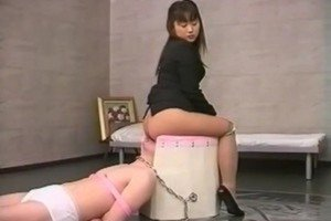 Asian girl pooping in his mouth
