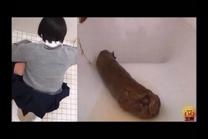 Asian girl pooping in the public toilet 3