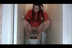 Nadia pooping in the toilet