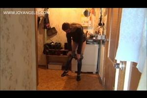 Girl piss on the kitchen floor