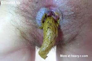 Blonde pooping and eat his shit