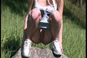Cute Girl pee outdoors