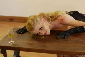 Blond scat on the coffee table