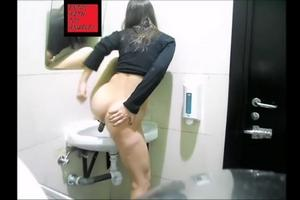 All Naked girl peeing in public bathroom sink very