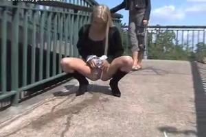 Beautiful blonde pee