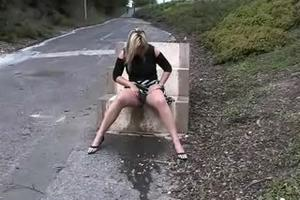 Woman pissing herself foot